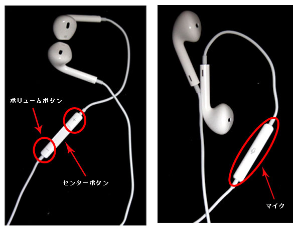 Apple EarPods with Remote and Micの各名称