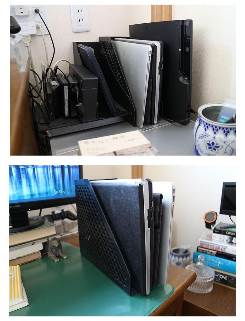 100均の収納 デスク周り、ノートパソコンの置き場